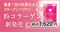 厳選国内産豚皮由来、コラーゲンペプチド一番搾り。粉コラーゲン新発売